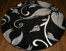 MODERN 140CMX140CM CIRCLE RUGS  4FT6 WOVEN  HAND CARVED LILY DESIGN SILVER/BLACK